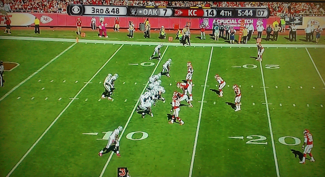 The Raiders faced a third-and-49 during the fourth quarter against the Chiefs. (CBS)
