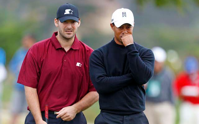 Tiger Woods and Tony Romo were partners at the AT&T Pebble Beach Pro-Am in 2012. (USATSI)
