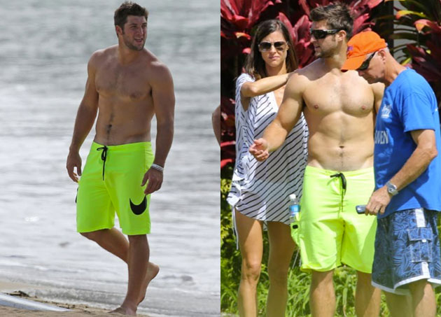 Tim Tebow is hanging out shirtless in Hawaii.