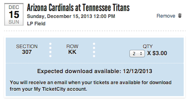I didn't buy these tickets, but you might still be able too. (TicketCity.com)