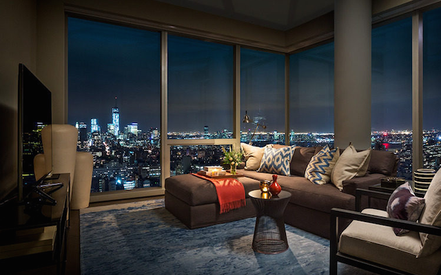 Night view from Tom Brady's apartment in New York.