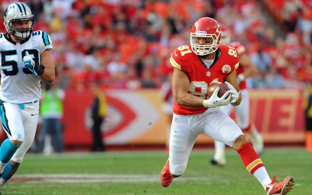 Former Chiefs tight end Tony Moeaki is headed for Buffalo. (USATSI)