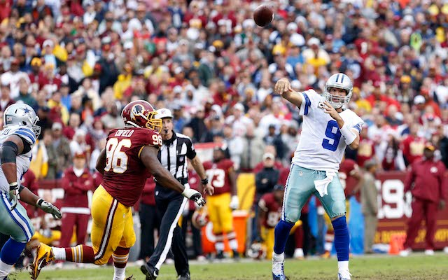 Tony Romo says he 'tweaked' his back against the Redskins. (USATSI)