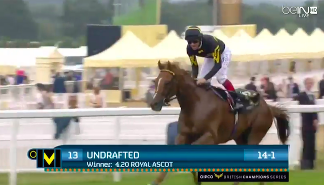 Undrafted was the surprising winner at the Diamond Jubilee Stakes. (BEIN-TV)