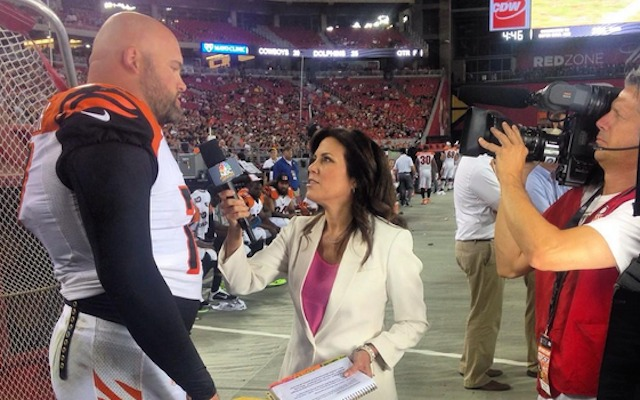 Michele Tafoya and Andrew Whitworth were having a nice conversation until Terence Newman interrupted. (Twitter/@SNFonNBC)