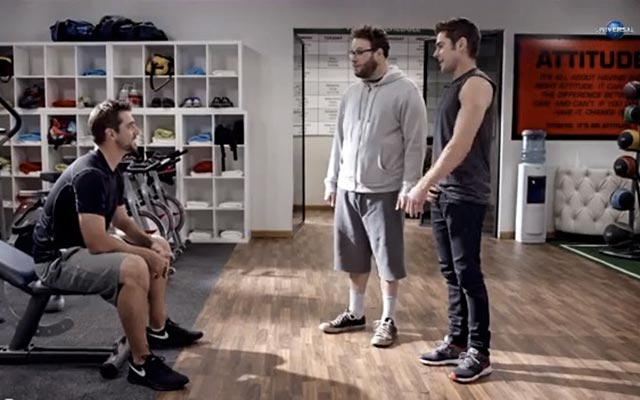 Aaron Rodgers, Seth Rogen and Zac Efron meet at a gym... (Universal)