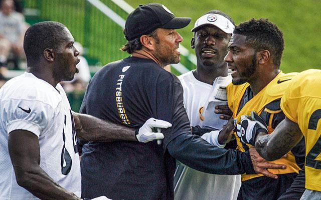 Antonio Brown and Ryan Clark exchange words during Steelers' 2012 training camp. (USATSI)