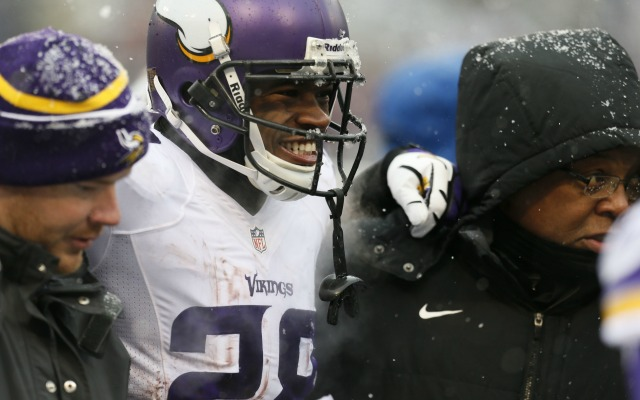 Adrian Peterson is helped off the field after an ankle injury. (USATSI)