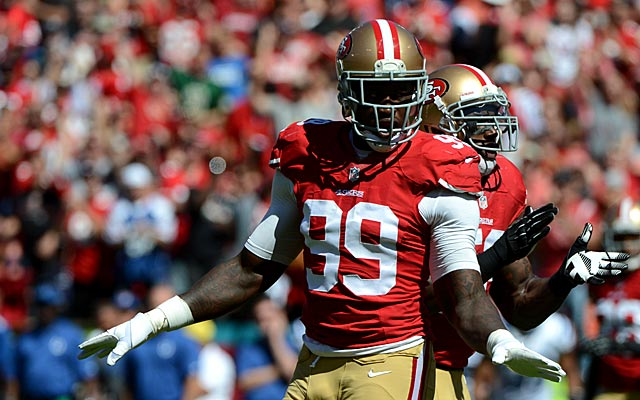 Aldon Smith and his dad seem happy with what transpired in court Friday. (USATSI)