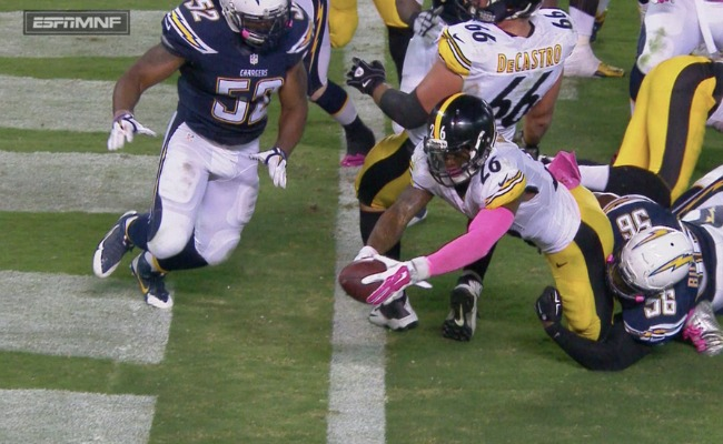 Le'Veon Bell, Steelers, Chargers, Goaline, Monday night football, touchdown, wildcat