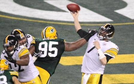 B. Roethlisberger throws an interception in the first quarter of Super Bowl XLV (US Presswire).