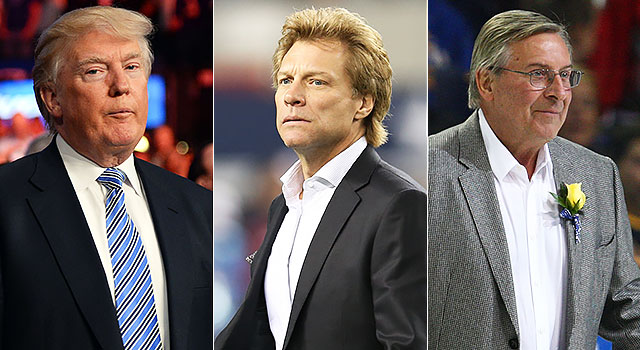 Does Bon Jovi (center) have the money to outbid Donald Trump (left) or Terry Pegula for the Bills? (USATSI)