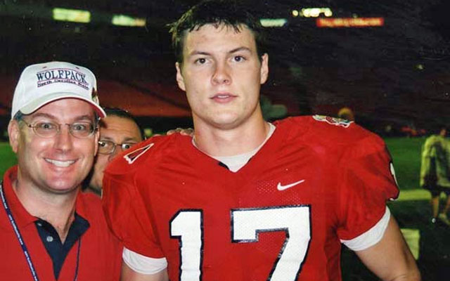 Tom with Phillip Rivers after the 2000 Micron PC Bowl. (Bowl Guys)