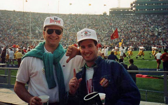 Tom and Brian at the 1990 Rose Bowl. (Bowl Guys)