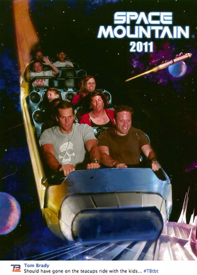 Look Tom Brady Makes Manning Face On Space Mountain