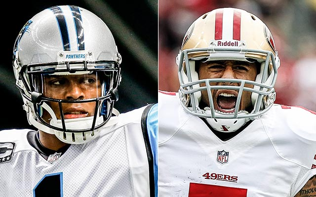 Can Cam win a playoff game over Colin? (USATSI)