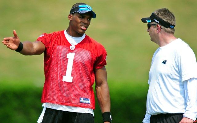 Cam Newton had some problems with Rob Chudzinski's speed in 2011. (Getty Images)