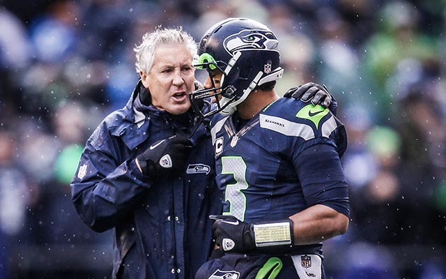 Pete Carroll is pleased with how Russell Wilson is playing. (USATSI)
