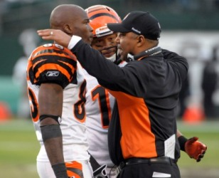 C. Ochocinco and Marvin Lewis have taken swipes at each other in the media (US Presswire).