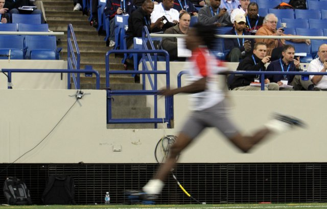 Chris Johnson ran a blazing 40 time at the 2008 combine. (Getty Images)