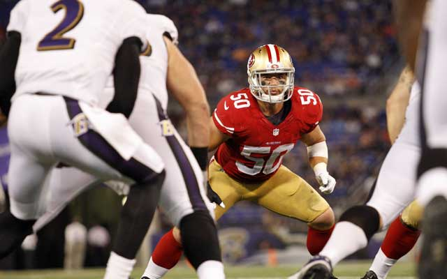 Rookie Chris Borland was a third-round pick from Wisconsin by the 49ers.