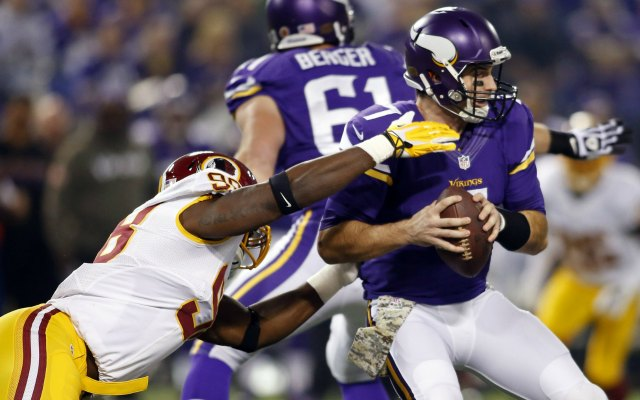 Christian Ponder left the game Thursday with a shoulder injury. (USATSI)