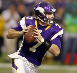 C. Ponder plans not to miss any games after suffering a concussion (US Presswire).