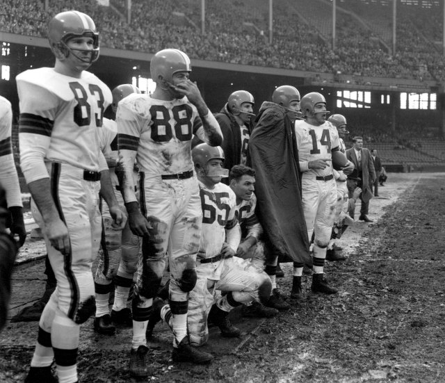 Chuck Noll, No. 65, played under Paul Brown in Cleveland. (Getty Images)