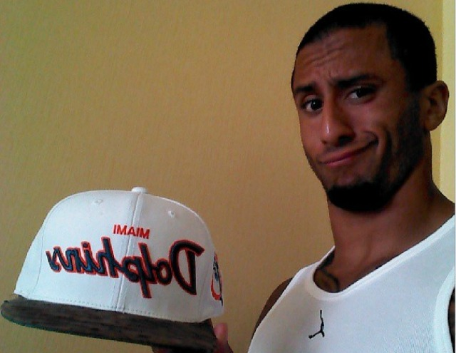 Colin Kaepernick is not impressed with your criticism of his hat choice. (http://instagram.com/kaepernick7/)