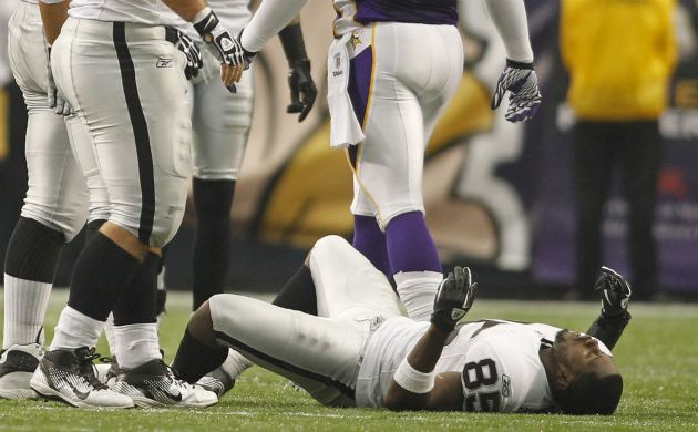 D. Heyward-Bey had feeling after this hit (AP).