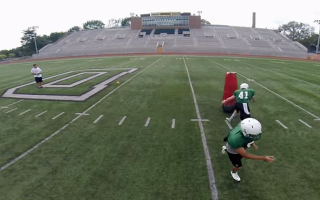 Dartmouth uses mobile virtual players to reduce full-contact tackling. (Dartmouth/YouTube)