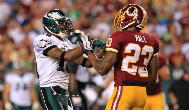 DeSeanJackson took exception to the play of DeAngeloHall. (USATSI)