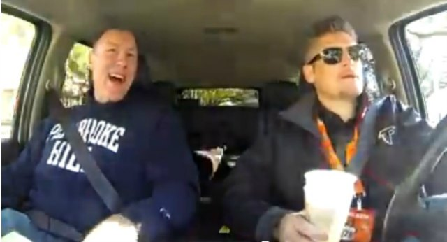 Scott Pioli, left, and Thomas Dimitroff are two dudes riding in a car. (YouTube)