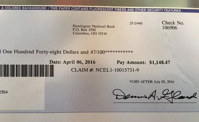 The check received by ex-Eagles player Dan Mulrooney. (Twitter/@Coach_Mul)