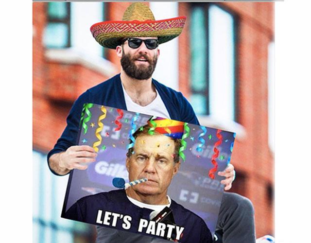 Julian Edelman and Bill Belichick (sorta) celebrate Cinco de