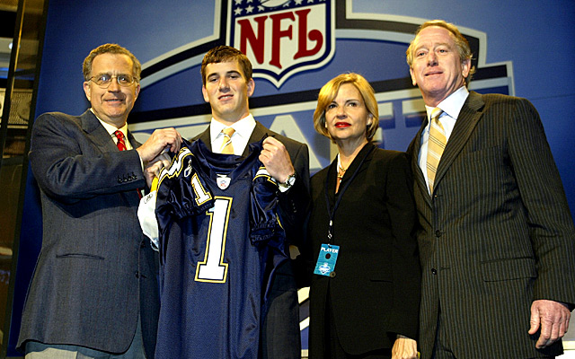 Eli Manning wasn't super-pumped about getting drafted by the Chargers. (Getty Images)