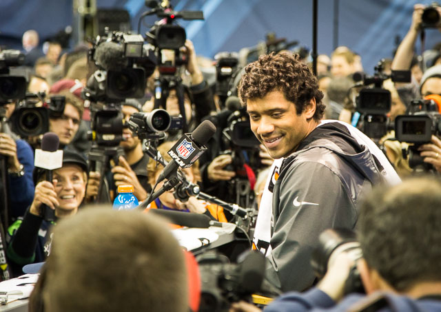 Russell Wilson's hair really is something. (Ryan Wilson, CBSSports.com)