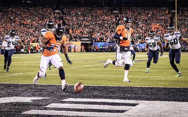 This is a metaphor for the Broncos' night: a safety 12 seconds into the game. (USATSI)