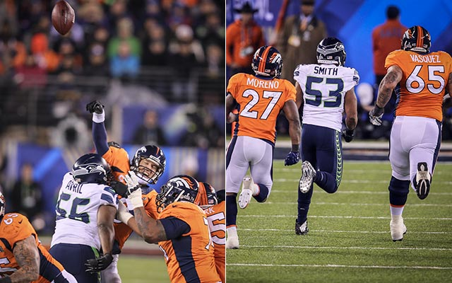 Cliff Avril got to Manning ... and that led to another interception that went for six. (USATSI)