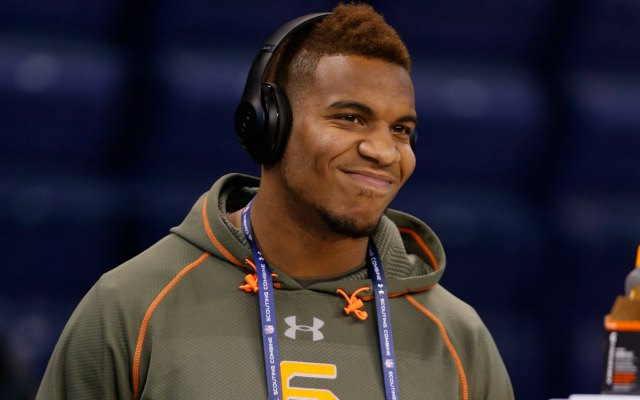 UNC's Eric Ebron had reason to smile Saturday at the NFL combine. (USATSI)