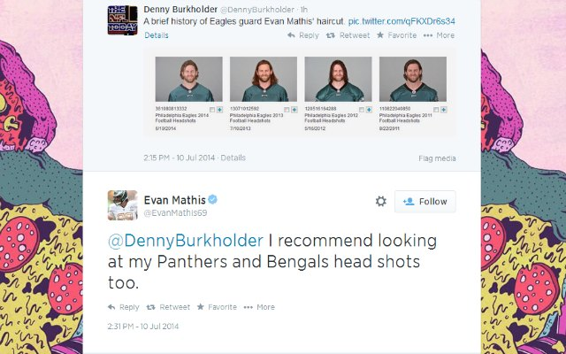 Evan Mathis is follically gifted.