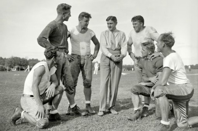 Former Washington owner George Marshall (middle) speaking to his men. (Shorpy.com)