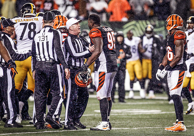The officials had a busy night in the Steelers-Bengals wild-card game. (USATSI)