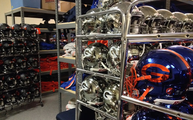 Bishop Gorman's chrome helmets definitely stand out. (Dennis Dodd)