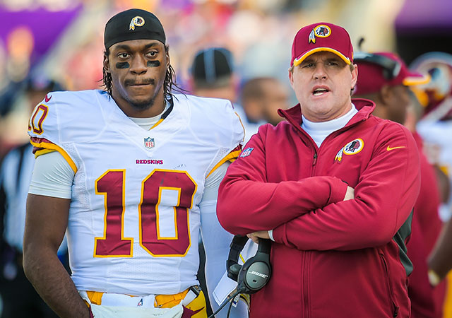 Robert Griffin III and Jay Gruden both share that million-mile stare. (Getty Images)