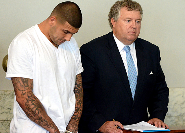 Hernandez is currently in jail awaiting trial on first-degree murder charges. (USATSI)