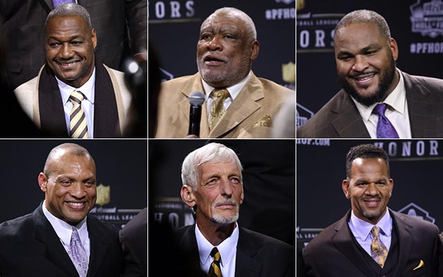 Here are six of the seven new Hall of Fame inductees. (Ryan Wilson, CBSSports.com)