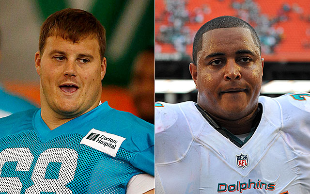 Richie Incognito, left, fired out at Jonathan Martin on Wednesday. (USATSI)