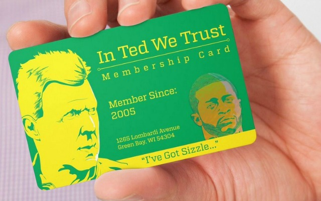 Look packers themed in ted we trust business card is sizzling ted thompson has the trust of green bay fans twitter reheart Gallery