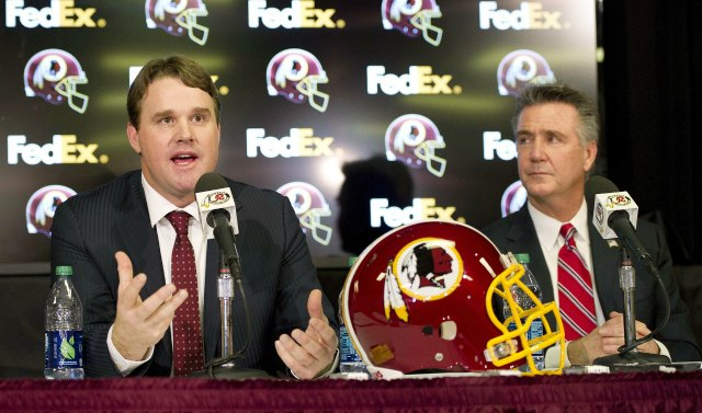 Jay Gruden, left, will try to lead Washington out of its dark 2013 season. (USATSI)